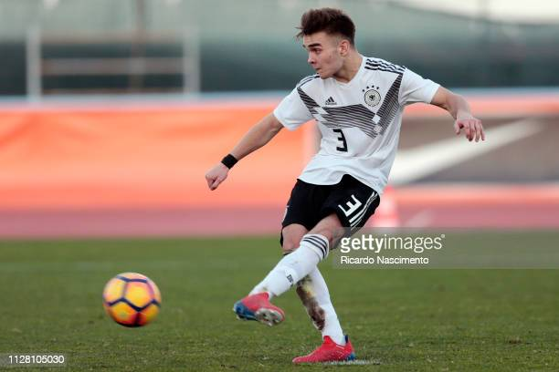 Moritz Reuther of Germany U16 scores a penalty at the final penaty shootout during UEFA Development Tournament match between U16 Netherlands and U16...