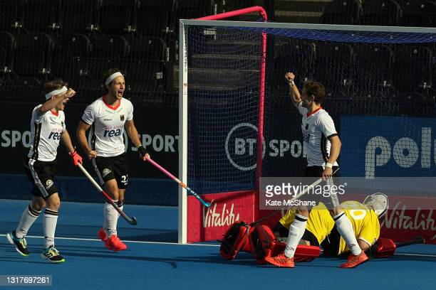 Moritz Rothlander of Germany celebrates scoring their team's first goal during the FIH Hockey Pro League match between Great Britain and Germany at...