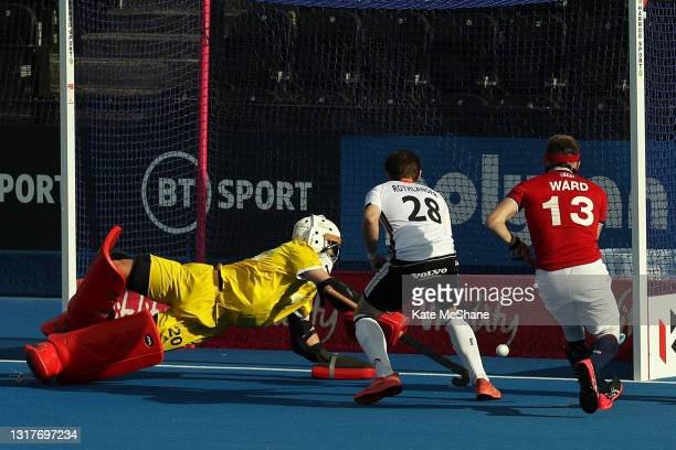 Moritz Rothlander of Germany scores their team's first goal during the FIH Hockey Pro League match between Great Britain and Germany at Lee Valley...