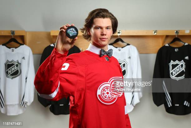 Moritz Seider, sixth overall pick of the Detroit Red Wings, poses for a portrait during the first round of the 2019 NHL Draft at Rogers Arena on June...