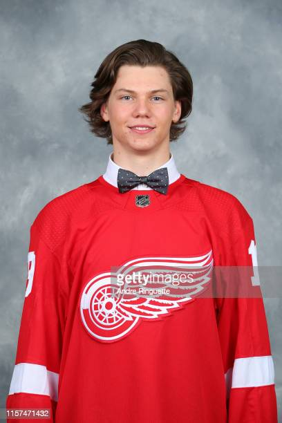 Moritz Seider sixth overall pick of the Detroit Red Wings poses for a portrait during the first round of the 2019 NHL Draft at Rogers Arena on June...