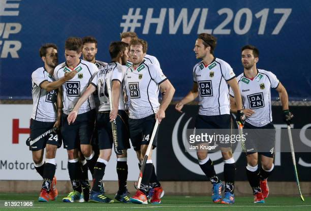 Moritz Trompertz of Germany celebrates scoring their teams first goal with teammates during day 3 of the FIH Hockey World League Semi Finals Pool B...