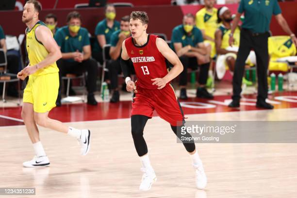 Moritz Wagner of the Germany Men's National Team looks on during the game against the Australia Men's National Team during the 2020 Tokyo Olympics on...