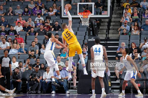 Moritz Wagner of the Los Angeles Lakers dunks the ball against the Golden State Warriors during the 2018 Summer League at the Golden 1 Center on July...