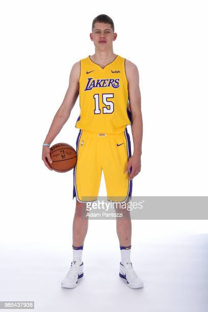 Moritz Wagner of the Los Angeles Lakers poses for a portrait after an introductory press conference at the UCLA Health Training Center on June 26...