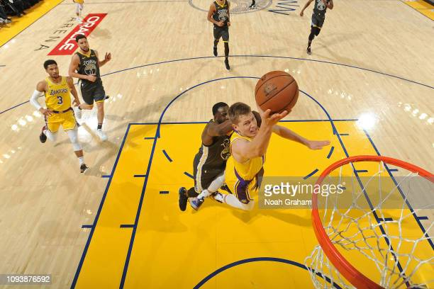 Moritz Wagner of the Los Angeles Lakers shoots the ball against the Golden State Warriors on February 2 2019 at ORACLE Arena in Oakland California...