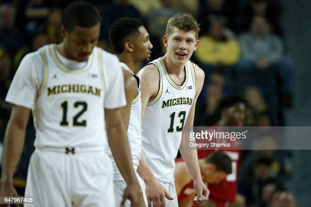 Moritz Wagner of the Michigan Wolverines celebrates a basket while playing the Wisconsin Badgers at Crisler Center on February 16 2017 in Ann Arbor...