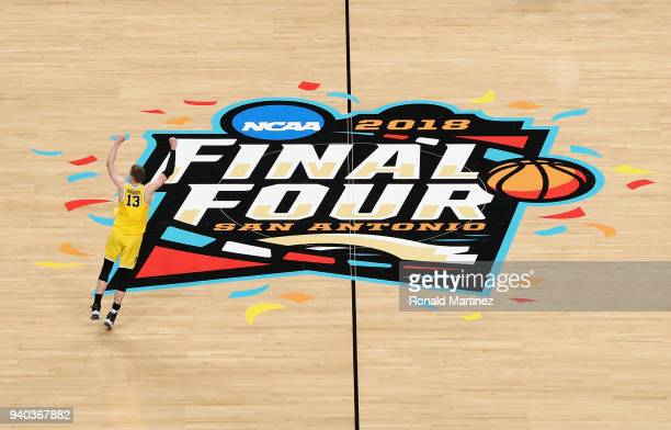 Moritz Wagner of the Michigan Wolverines celebrates against the Loyola Ramblers during the 2018 NCAA Men's Final Four Semifinal at the Alamodome on...