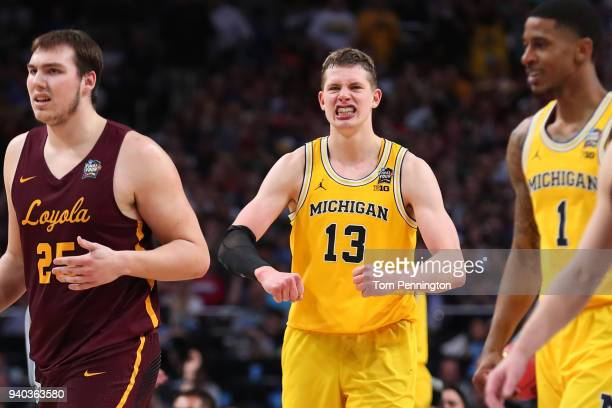 Moritz Wagner of the Michigan Wolverines reacts after a play in the second half against the Loyola Ramblers during the 2018 NCAA Men's Final Four...