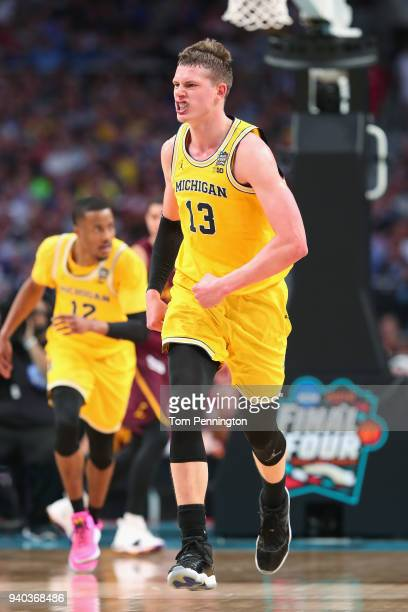 Moritz Wagner of the Michigan Wolverines reacts in the first half against the Loyola Ramblers during the 2018 NCAA Men's Final Four Semifinal at the...