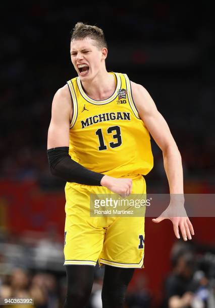 Moritz Wagner of the Michigan Wolverines reacts in the second half against the Loyola Ramblers during the 2018 NCAA Men's Final Four Semifinal at the...