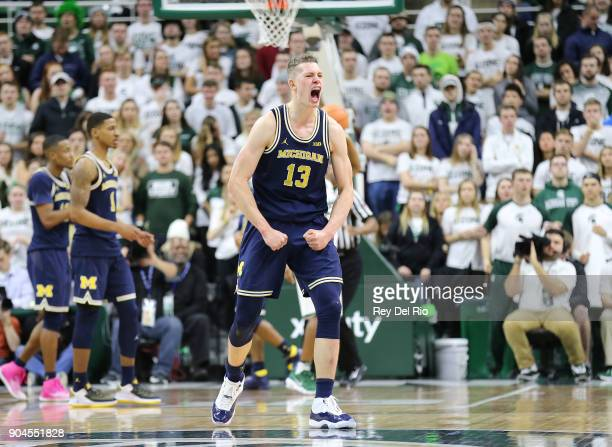 Moritz Wagner of the Michigan Wolverines reacts to a call late in the in the second half during a game against the Michigan State Spartans at Breslin...