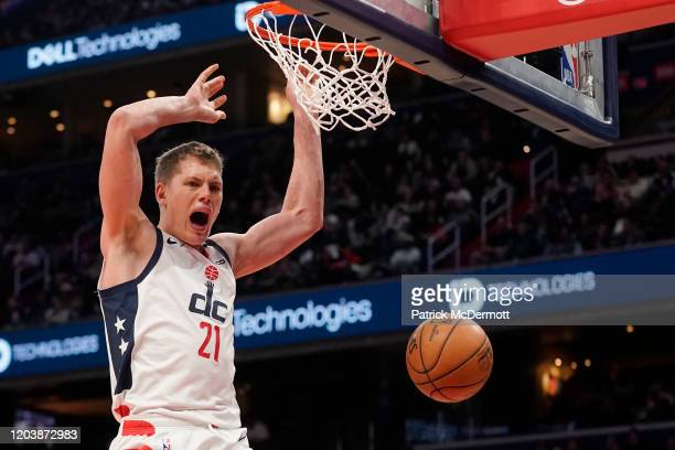 Moritz Wagner of the Washington Wizards dunks against the Golden State Warriors in the second half at Capital One Arena on February 03, 2020 in...