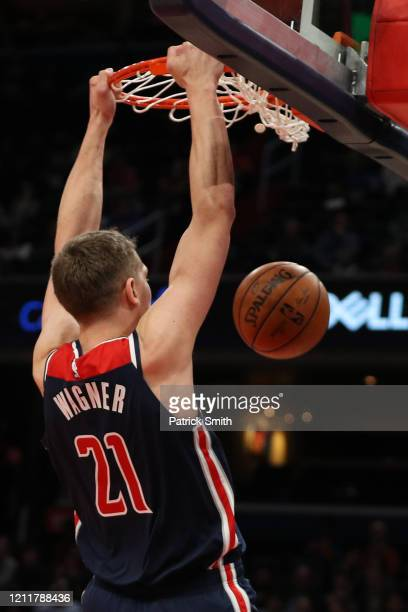 Moritz Wagner of the Washington Wizards dunks against the New York Knicks during the second half at Capital One Arena on March 10 2020 in Washington...