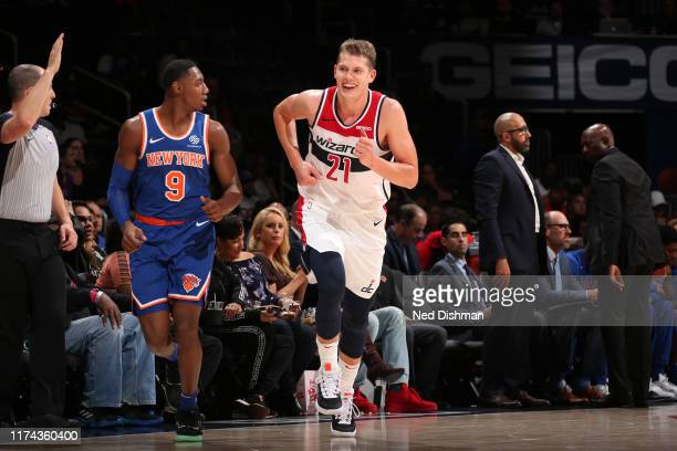Moritz Wagner of Washington Wizards smiles during the game against the New York Knicks during pre-season on October 7, 2019 at Capital One Arena in...