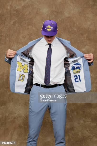 Moritz Wagner poses for a portrait after being drafted by the Los Angeles Lakers during the 2018 NBA Draft on June 21 2018 at Barclays Center in...