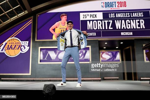 Moritz Wagner poses on the stage after been selected twentyfifth by the Los Angeles Lakers on June 21 2018 at Barclays Center during the 2018 NBA...