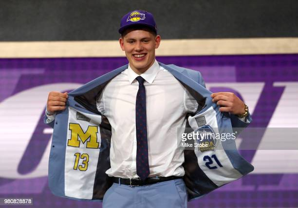 Moritz Wagner reacts after being drafted 25th overall by the Los Angeles Lakers during the 2018 NBA Draft at the Barclays Center on June 21 2018 in...