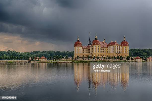 Schloss Moritzburg is a Baroque palace in Moritzburg in the German state of Saxony about 13 kilometres northwest of the Saxon capital Dresden The...