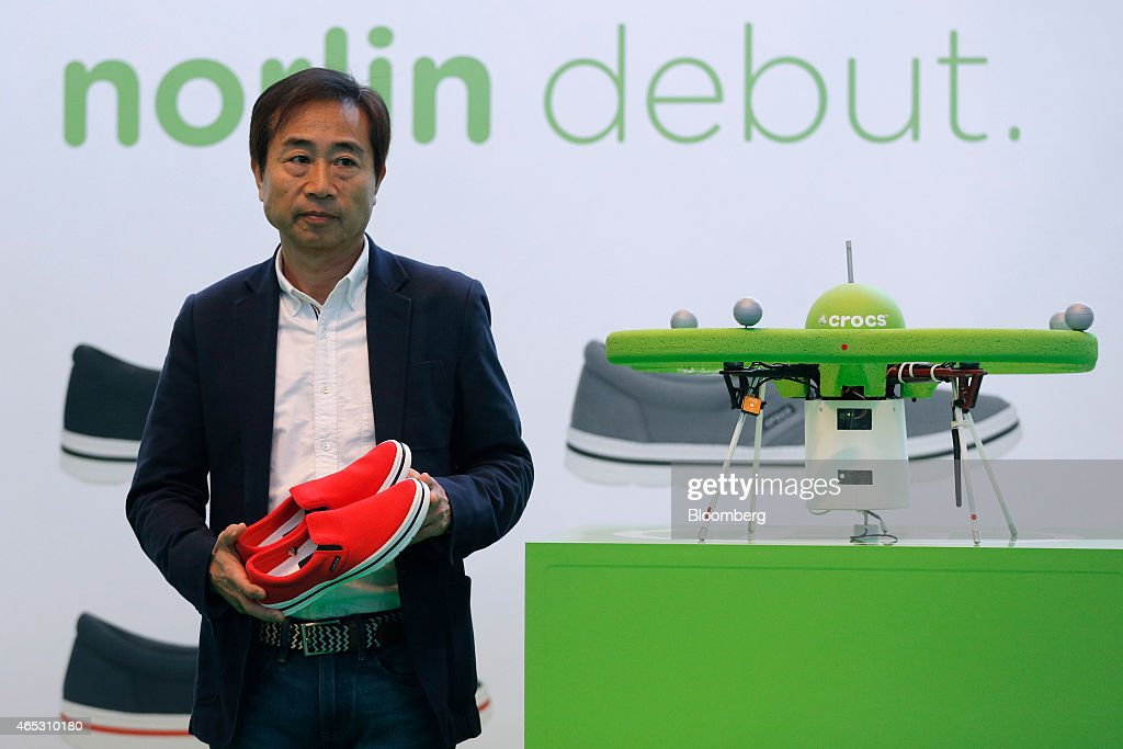 acec1b3eef90 Crocs Japan GK Opens World s First Aerial Store With Drones   News Photo