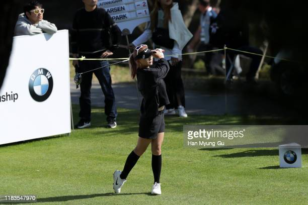 Moriya Jutanugarn of Thailand drives from a tee on the seventh hole during Round 3 of 2019 BMW Ladies Championship at LPGA International Busan on...