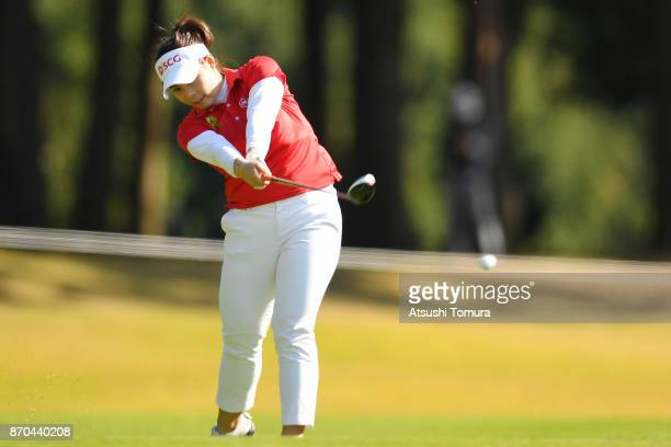Moriya Jutanugarn of Thailand hits her second shot on the 17th hole during the final round of the TOTO Japan Classics 2017 at the Taiheiyo Club...