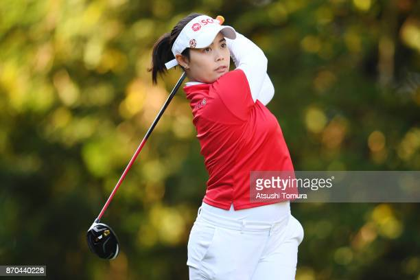 Moriya Jutanugarn of Thailand hits her tee shot on the 2nd hole during the final round of the TOTO Japan Classics 2017 at the Taiheiyo Club Minori...