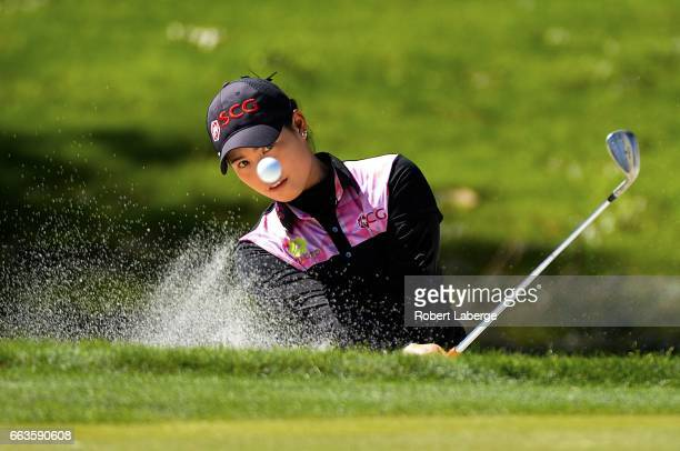 Moriya Jutanugarn of Thailand makes a shot out of a bunker on the eight hole during the third round of the ANA Inspiration on the Dinah Shore...