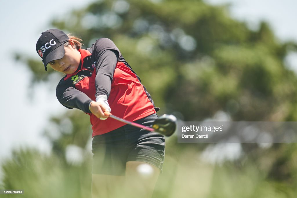 Moriya Jutanugarn of Thailand plays a tee shot at the third hole during the continuation of the first round of the 2018 Volunteers of America LPGA Texas Classic at Old American Golf Club on May 5, 2018 in The Colony, Texas.