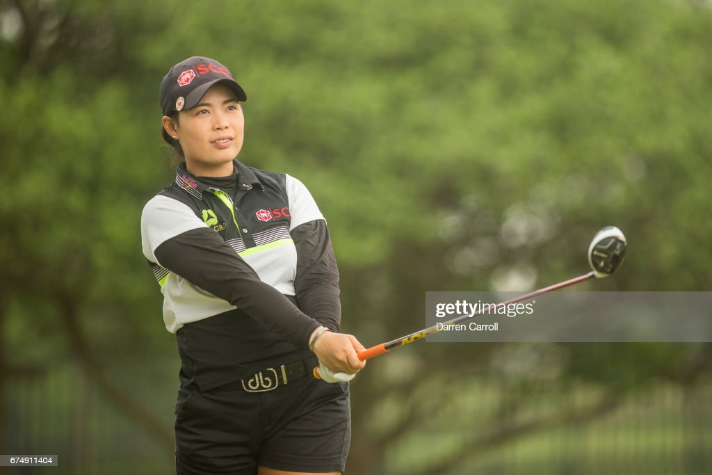 Moriya Jutanugarn of Thailand plays her tee shot at the second hole during the third round of the Volunteers of America North Texas Shootout at Las Colinas Country Club on April 29, 2017 in Irving, Texas.
