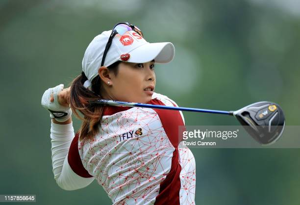 Moriya Jutanugarn of Thailand plays her tee shot on the par 5 15th hole during the final round of the 2019 KPMG Women's PGA Championship at Hazeltine...