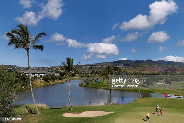 Moriya Jutanugarn of Thailand putts on the 16th green during the second round of the LPGA LOTTE Championship at Kapolei Golf Club on April 15, 2021...