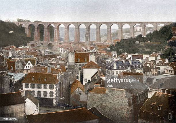 Morlaix general view with viaduct postcard c 1900
