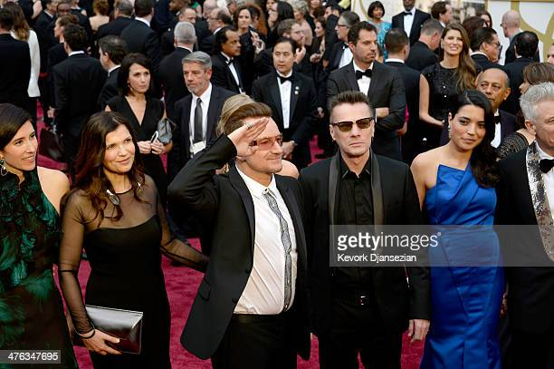 Morleigh Steinberg Alison Hewson singer Bono musician Larry Mullen Jr and Mariana Teixeira attend the Oscars held at Hollywood Highland Center on...