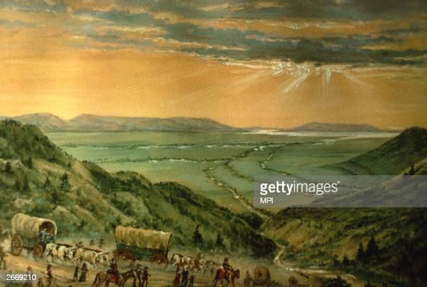 Mormons arriving in Salt Lake Valley Utah Original Artwork 'Salt Lake Valley' by W H Jackson