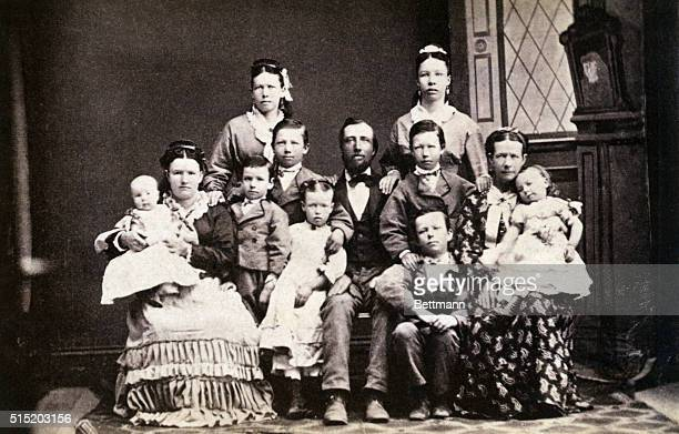 Mormons Typical Mormon family PA Two wives and nine children Photograph of the 1870's