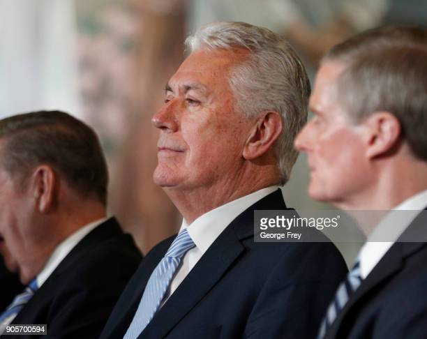 Mormron Apostles Dieter F Uchtdorf listens to President Russell M Nelson of the Church of Jesus Christ of Latter Day Saints answer questions at a...