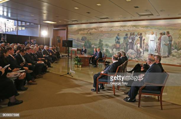 Mormron Apostles sit to the side listening to President Russell M Nelson of the Church of Jesus Christ of Latter Day Saints answer questions at a...