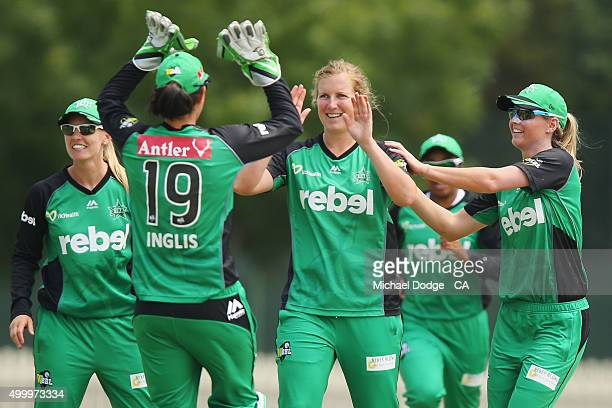 Morna Nielsen of the Stars celebrates a wicket during the Women's Big Bash League match between the Brisbane Heat and the Melbourne Stars at Junction...