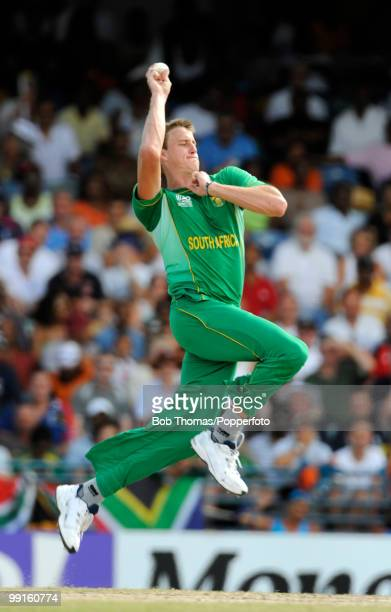 Morne Morkel bowling for South Africa during the ICC World Twenty20 Super Eight Match between England and South Africa played at the Kensington Oval...