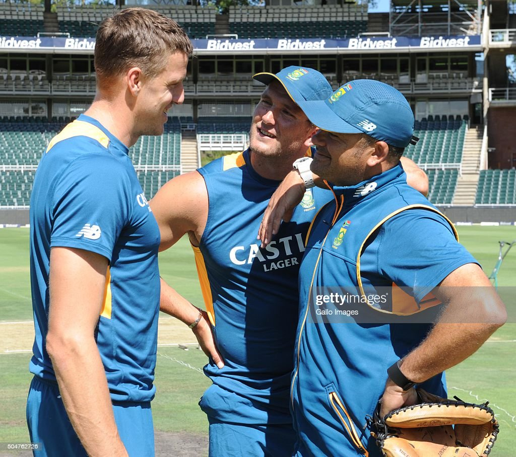 Morne Morkel, Hardus Viljoen and Charl Langeveldt (Bowing coach) during the South African national cricket team training session and captain' press conference at Bidvest Wanderers Stadium on January 13, 2016 in Johannesburg, South Africa.