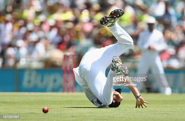 Morne Morkel of South Africa attempts to field the ball during day two of the Third Test Match between Australia and South Africa at WACA on December...