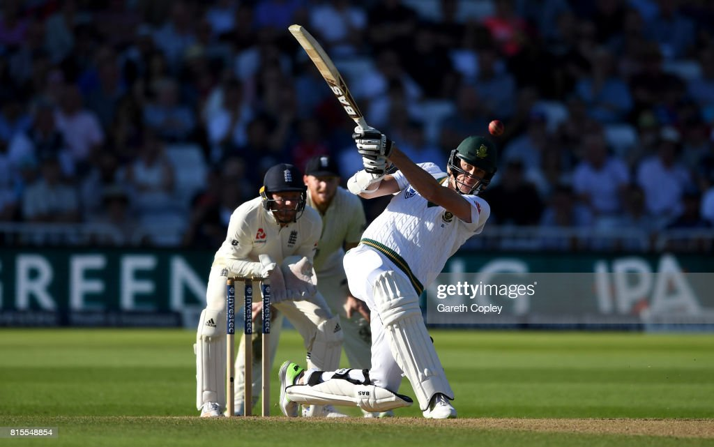 Morne Morkel of South Africa bats during day three of the 2nd Investec Test match between England and South Africa at Trent Bridge on July 16, 2017 in Nottingham, England.