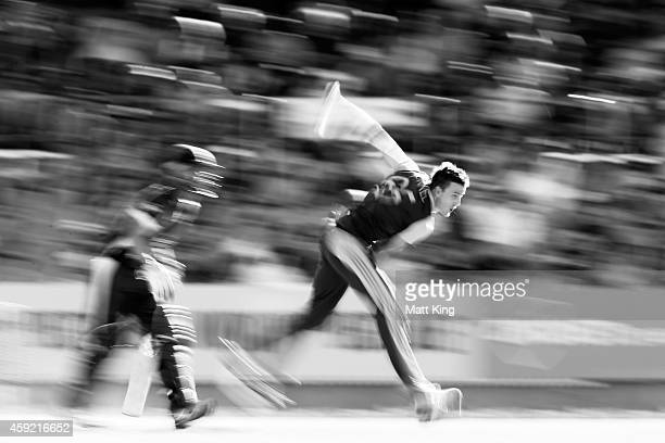 Morne Morkel of South Africa bowls during game three of the One Day International Series between Australia and South Africa at Manuka Oval on...