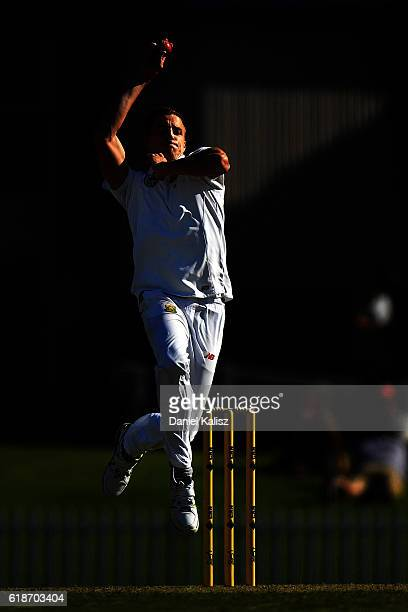Morne Morkel of South Africa bowls during the Tour match between South Australia and South Africa at Gliderol Oval on October 28 2016 in Adelaide...