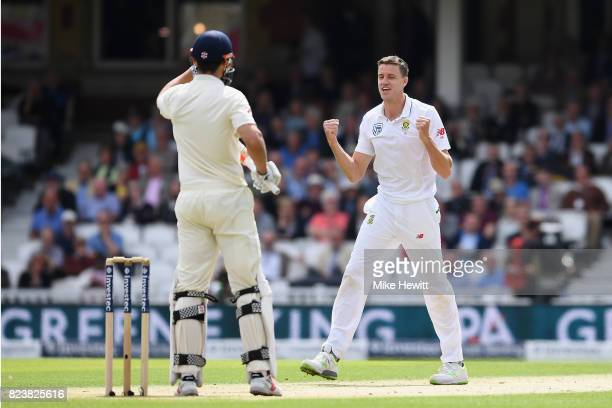Morne Morkel of South Africa celebrates after trapping Alastair Cookof England lbw during Day Two of the 3rd Investec Test match between England and...