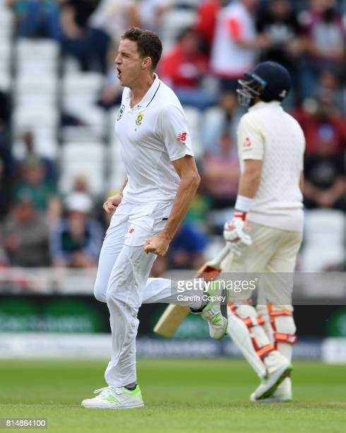 Morne Morkel of South Africa celebrates dismissing England captain Joe Root during day two of the 2nd Investec Test match between England and South...