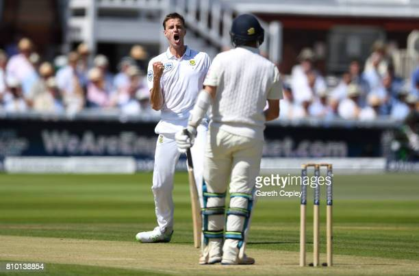 Morne Morkel of South Africa celebrates dismissing Liam Dawson of England during day two of the 1st Investec Test between England and South Africa at...