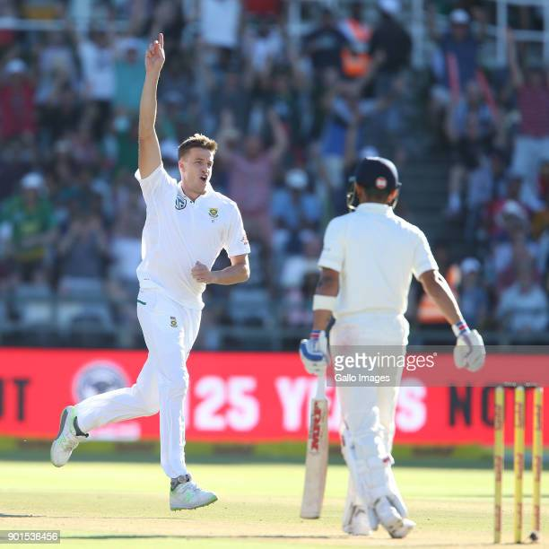 Morne Morkel of South Africa celebrates during day 1 of the 1st Sunfoil Test match between South Africa and India at PPC Newlands on January 05 2018...