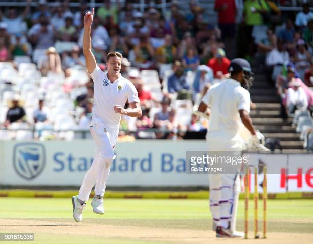 Morne Morkel of South Africa celebrates during day 2 of the 1st Sunfoil Test match between South Africa and India at PPC Newlands on January 06 2018...